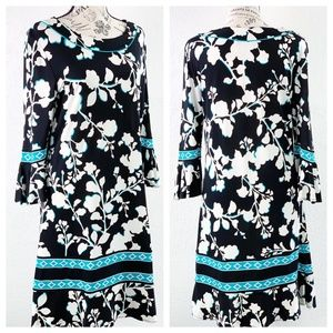 BCBG Black White & Blue Floral Dress Size Medium